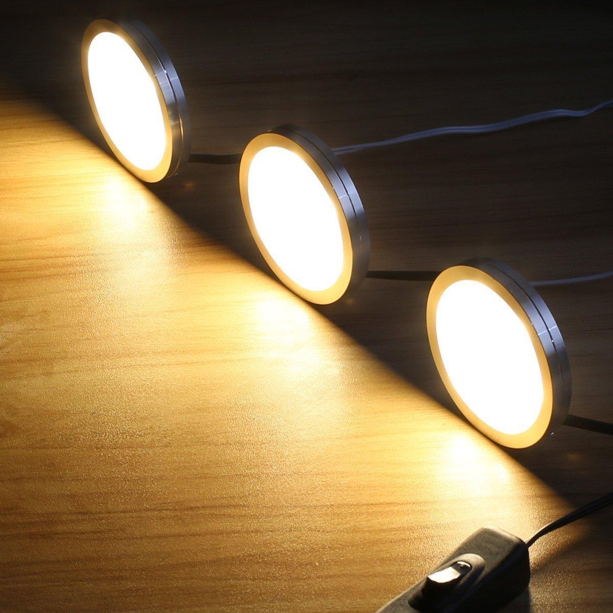 Le Led Under Cabinet Lighting Kit 510lm Puck Lights 3000k Warm
