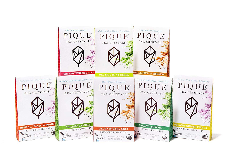 Pique Organic Variety Tea Crystals Sampler - Gut Health, Fasting, Calm - 112 Single Serve Sticks (Pack of 8) by PIQUE