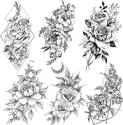 Coktak 6 Pieces Lot Realistic Large Black Rose Flower Temporary Tattoos For Women Body Art Arm Legs Big Peony Geometric Tattoo Stickers Adults Fake Waterproof Tatoo Sketch Sexy Girl Peach Lily Amazon Co Uk Beauty