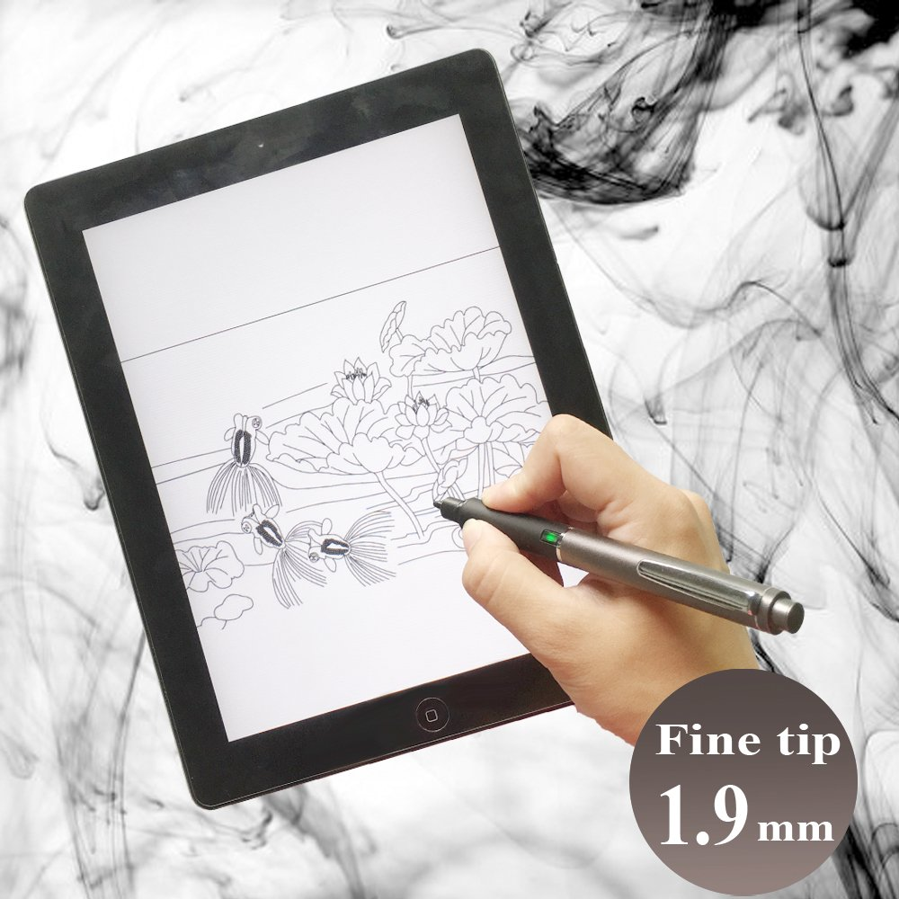 Active Stylus,1.9mm Rotating Fine Tip Pen for iPad,iPhone,Samsung,Kindle,IOS/Android/Windows Phones & Tablets (Grey)