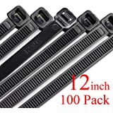 Harileminy Cable Zip Ties Heavy Duty 100 Pieces 12 Inch Self-Locking Ultra Strong Plastic Wire Ties Tensile Strength Nylon Cable Tie Wraps Width in Black White UV Resistant