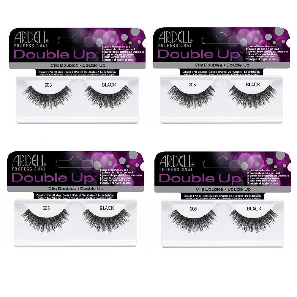 Ardell Double Up 205 False Eyelashes, Black (4-Pack)