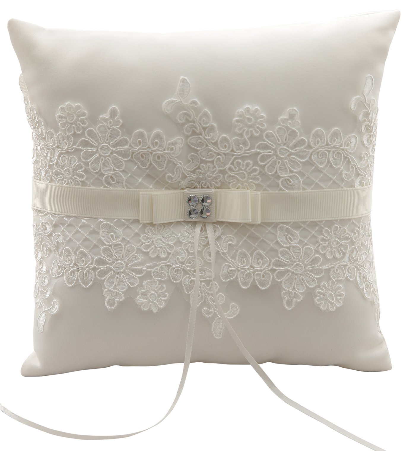 MeryaDress Ivory Satin and Lace Wedding Ring Bearer Pillow Cushion Embroider Flower Lace with Bow, 8 Inch (21cmx 21cm) Ring Bearer for Beach Wedding, Wedding ceremony-E