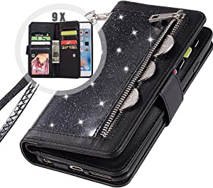 iPhone 8 Plus Zipper Wallet Case with Strap,Auker 9 Card Holder Bling Glitter Leather Flip Magnet Wallet Case with Money Pocket Full Body Sparkly Protective Purse Case for Women iPhone 7 Plus (Black)