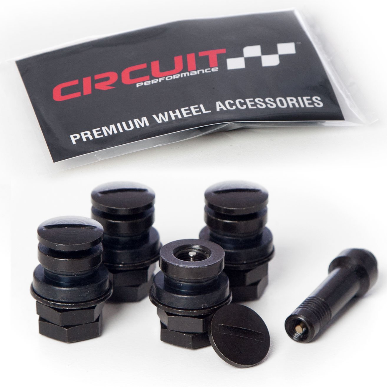 Circuit Performance Black Bolt-in Flush Mount Valve Stems (Set of 4) by Circuit Performance