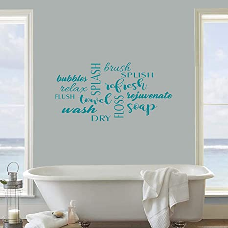 Amazon Com Bathroom Wall Decor Decal Sticker Bathroom Decals Bathroom Vinyl Bathroom Word Jumble Decal 22x11 Teal Home Kitchen