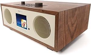 "Grace Digital Encore+ Wireless Stereo Smart Speaker & Internet Radio with Wi-Fi + Bluetooth & 3.5"" Color Display Walnut (GDI-WHA7505)"