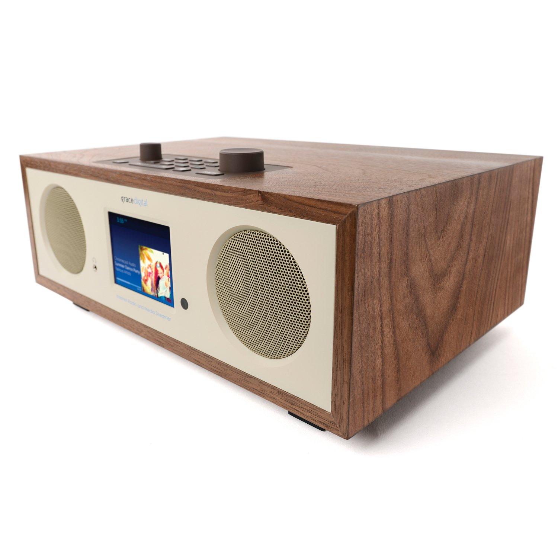 Grace Digital Encore+ Wireless Stereo Smart Speaker & Internet Radio with Wi-Fi + Bluetooth & 3.5'' Color Display Walnut (GDI-WHA7505)