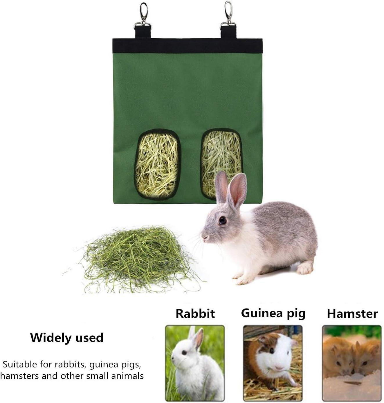 Large Size 600D Oxford Cloth Fabric Rabbit Hay Feeder Bag,Guinea Pig Hay Feeder,Hanging Feeding Storage Bag for Small Animals,Hay Automatic Feeder Bag