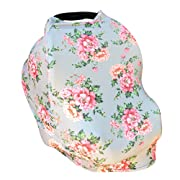 Carseat Canopy - 5-in-1 Breastfeeding Cover, Shopping Cart Cover, Baby Car Seat Cover - Grey Floral