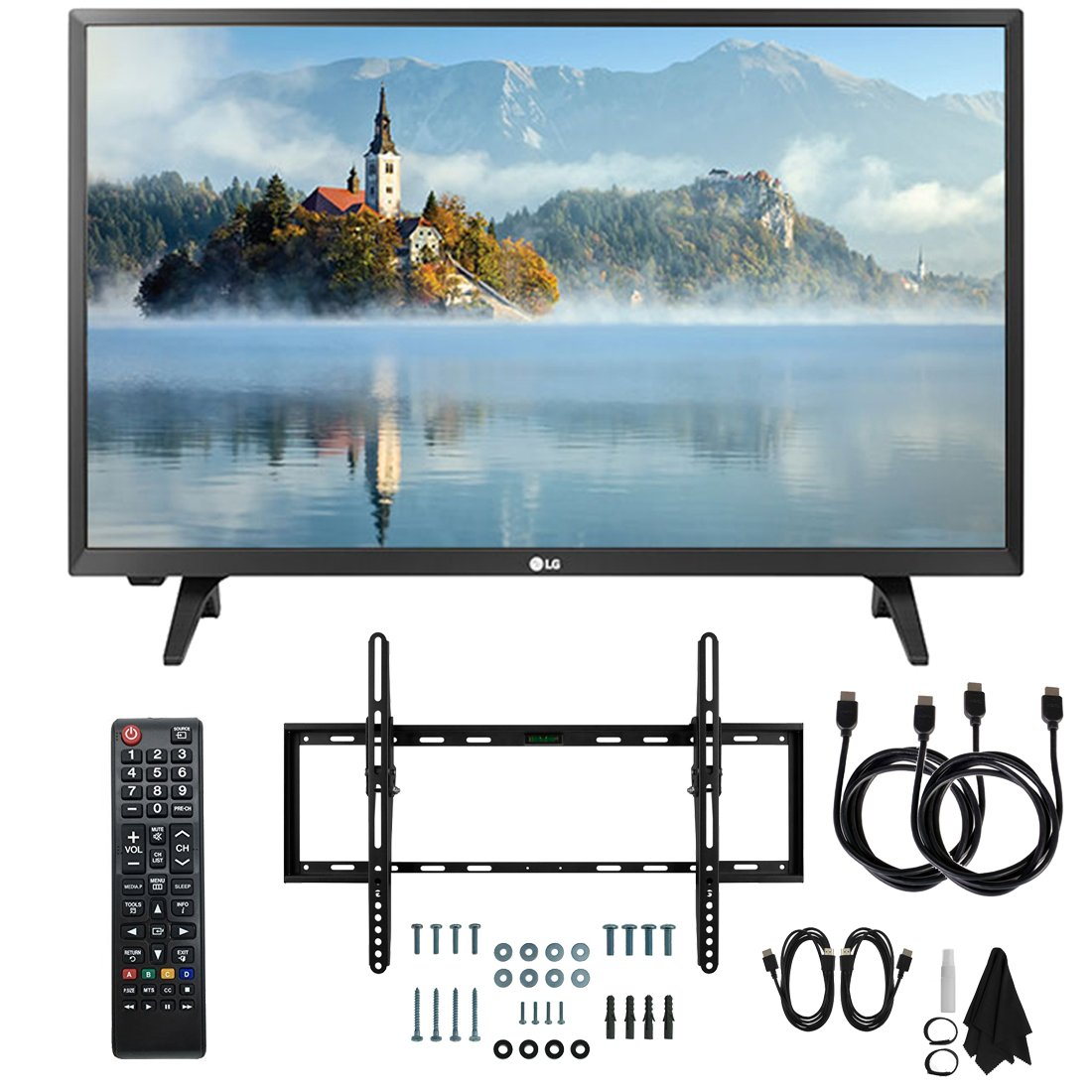 LG 28LJ430B-PU 28'' Class HD 720p LED TV (2017 Model) with Slim Flat Wall Mount Kit and Two (2) 6 Foot HDMI Cables Ultimate Bundle by LG