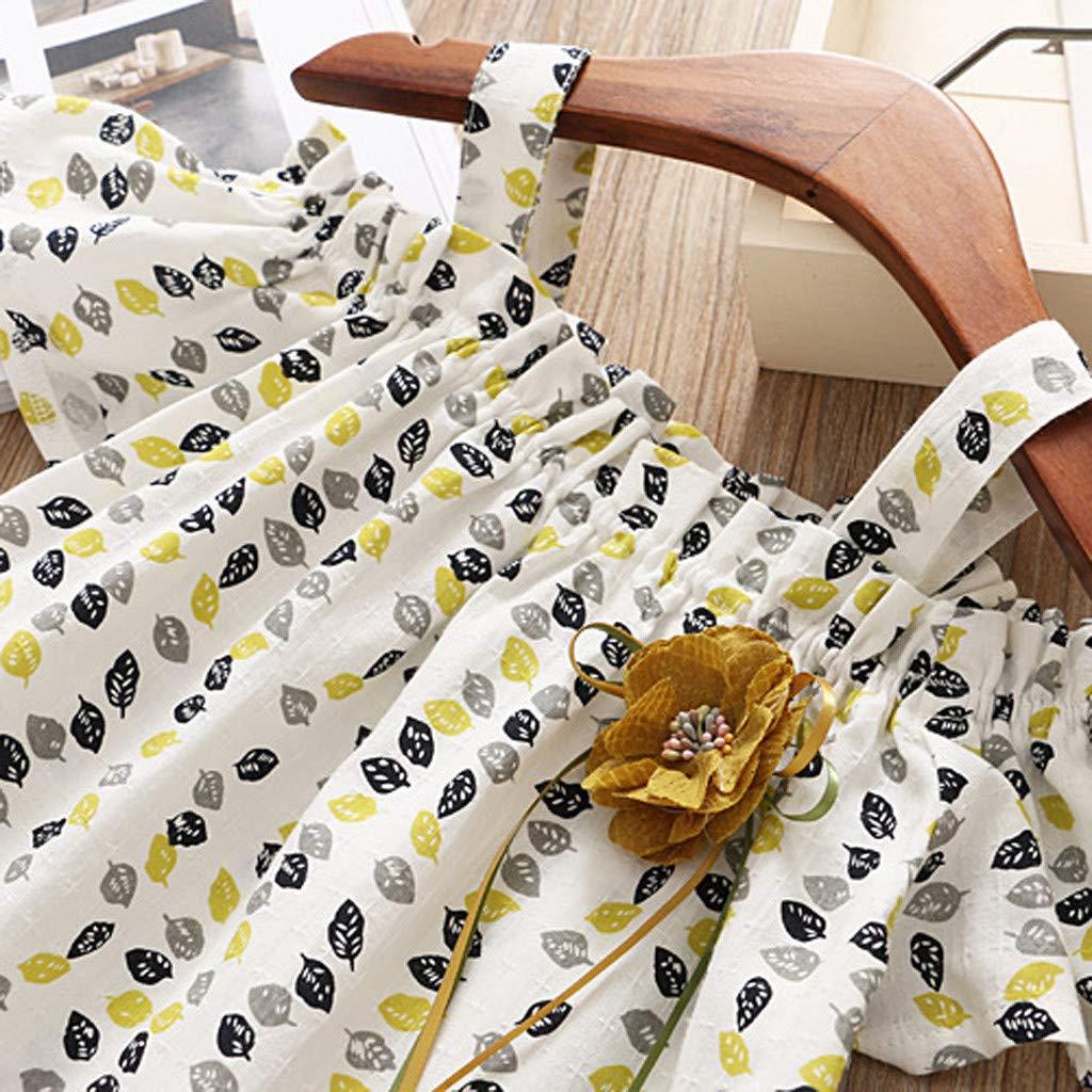 MRULIC b/éb/é Enfant Fille Short et Casquette Enfant Fille Mode Mignonne sans Manches Fleur Imprim/é Mini Robes et Solide Short de Soleil