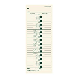 "TOPS Time Cards, Weekly, 1-Sided, 3-1/2"" x 9"", Manila, Green Print, 500-Count (1259)"