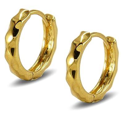 Blue Diamond Club - Small and Elegant 18ct Gold Filled Filigree Basket Style Creole Hoop Earrings Womens Ladies Riyjy