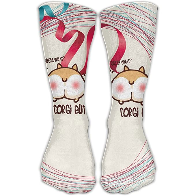amazon com guess what corgi butt unisex mid calf socks sport