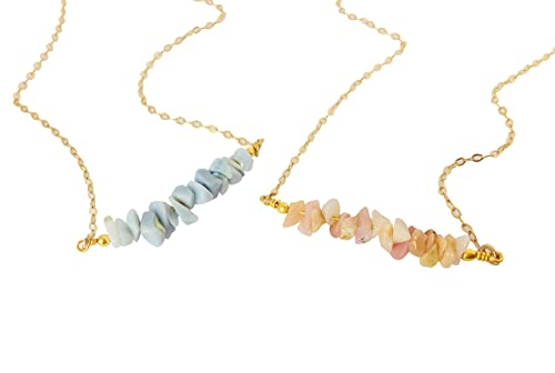 Raw opal necklace October birthstone necklace