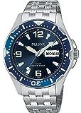 Pulsar 男士 PXN107 运动银色不锈钢手表