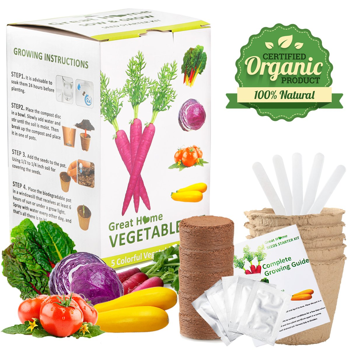 Vegetable Herb Garden Seed Growing Starter Kit Indoor For Kids Easily Grow 5 Fresh Veggie Garden Kit Tomatoes,Purple Carrot,Rainbow Chard,Brussel Sprout Paired with Magic Trio Peeler Set(Not Included)