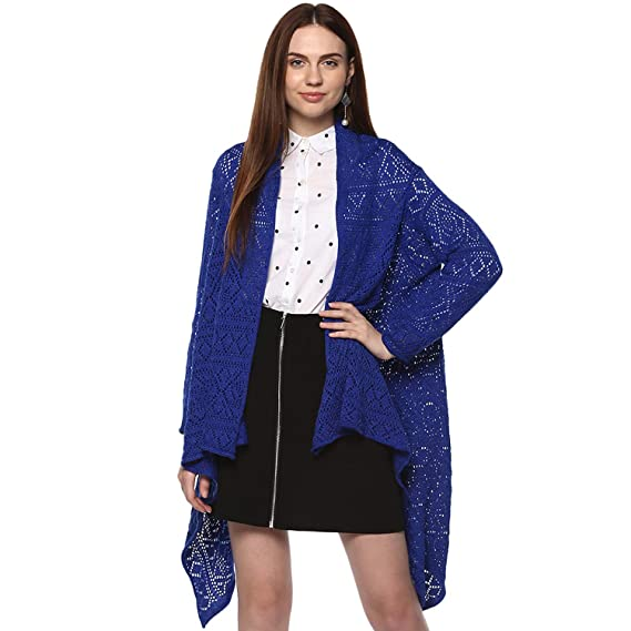 0d2a8c9169a Perroni Women s Long Shrug (Blue)  Amazon.in  Clothing   Accessories