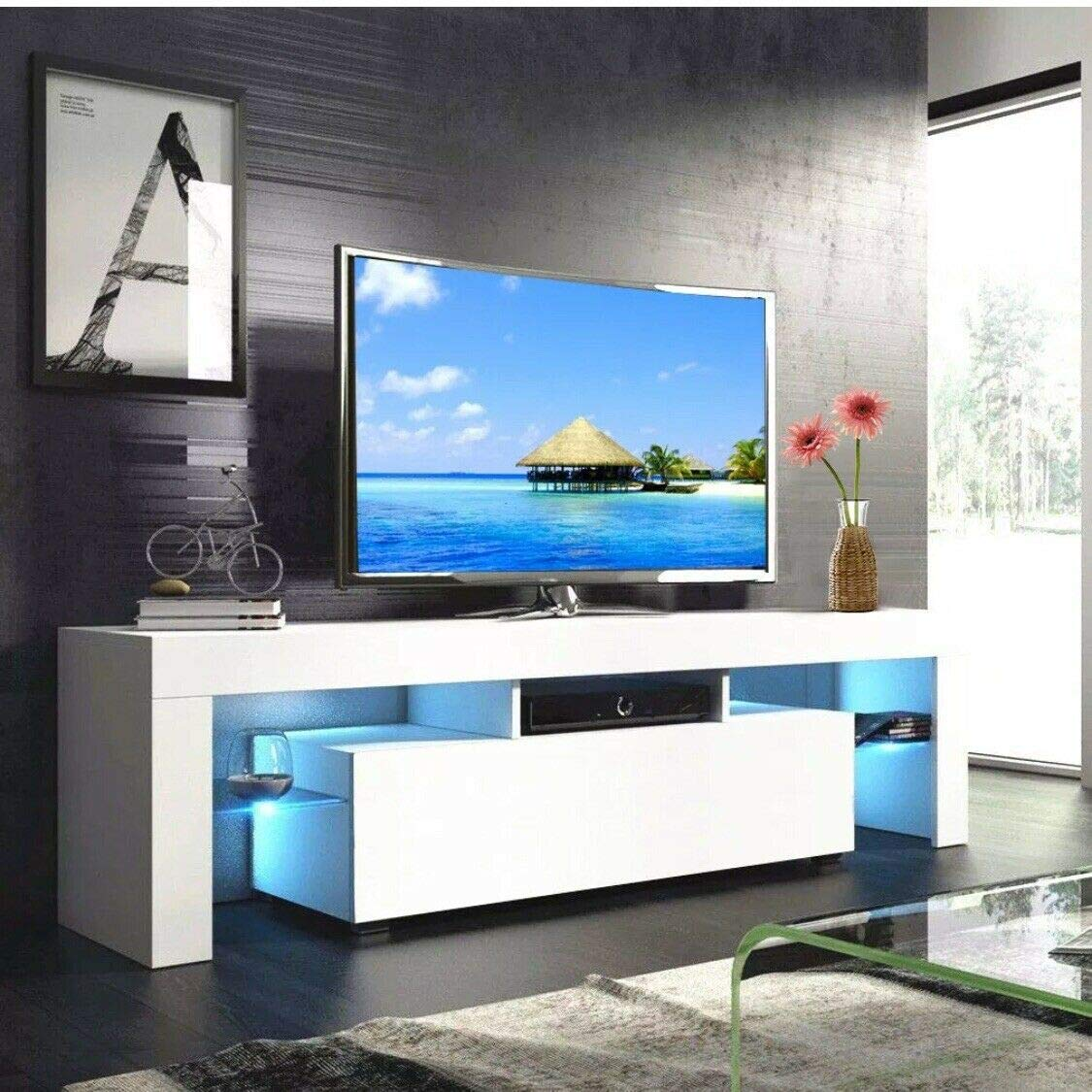 MTFY Modern Simple TV Stand with LED, Television Stand Entertainment Center Console Table for Living Room, for 51'' TV (White) by MTFY