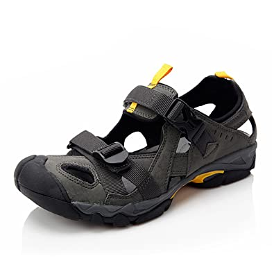 8725a167653 Clorts Men s Sport Sandal Lightweight Outdoor Hiking Athletic Beach  Amphibious Sandal Gray SD-206C US11