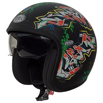 Premier Jet Vintage Open Face casco de moto – mate negro a cuadros