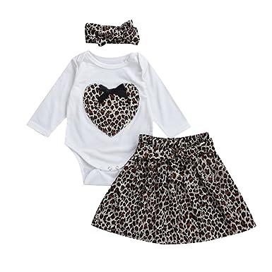 e8145b037e88 Glosun Newborn Baby Girls Long Sleeve Heart Romper Tops + Leopard Leggings  Long Pants 2Pcs Outfits