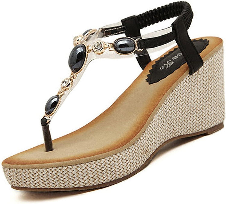 Minetom Femme Fille Perl/é Chaussures Et/é Sandales Compens/ées T Sangle Tongs Mode /Ét/é Des Sandales