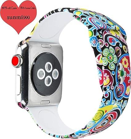Amazon.com: sunmitech Sport Band para Apple Watch de 38 mm ...