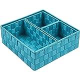 Posprica Woven Storage Box Cube Basket Bin Container Tote Organizer Divider for Drawer,Closet,Shelf, Dresser,Set of 4…