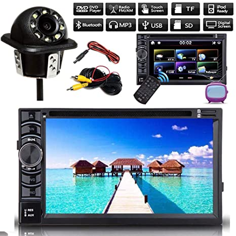 Reproductor de audio y vídeo estéreo para coche con pantalla táctil doble DIN de 6,