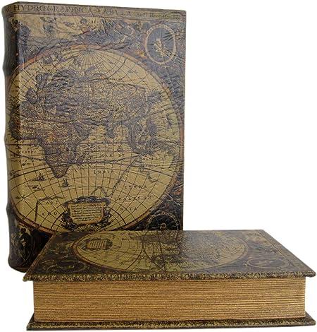 Cornflakes~mapamundi~talla XL envejecida Box Caja Joyero LACADO diseño libro caja fuerte: Amazon.es: Hogar