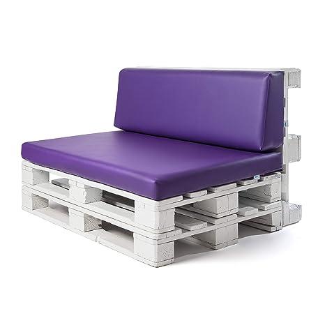 Conjunto colchoneta para sofas de palet y respaldo Lila (1 x Unidad) Cojin relleno con espuma. | Cojines para chill out, interior y exterior, jardin | ...
