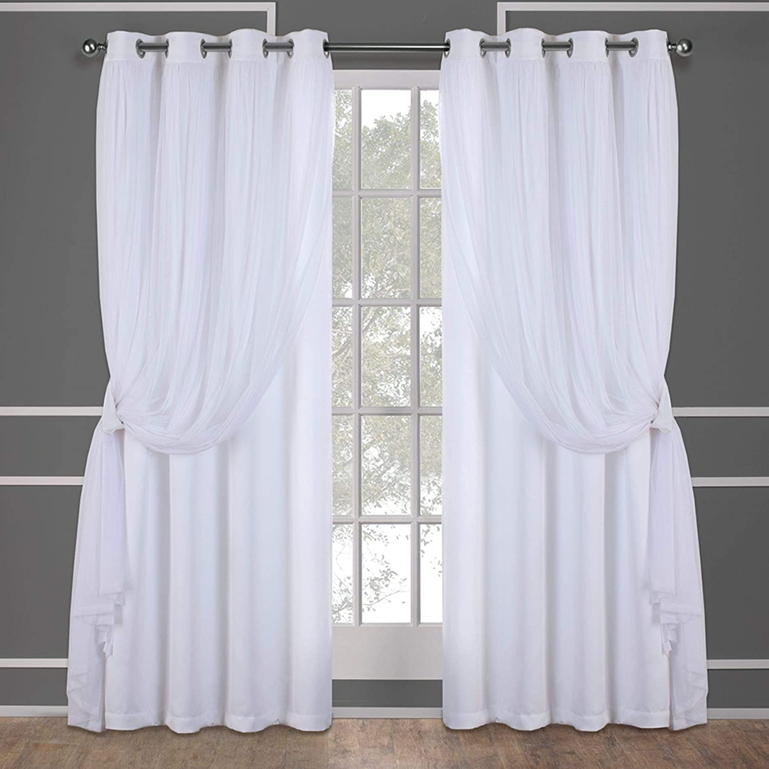 Amazon Com Exclusive Home Curtains Catarina Layered Solid Blackout And Sheer Window Curtain Panel Pair With Grommet Top 52x84 Winter White 2 Count Home Kitchen