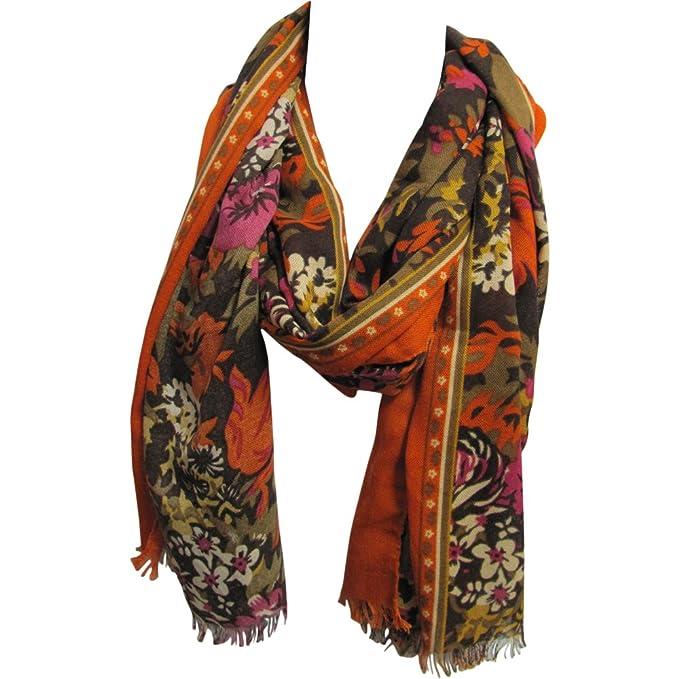 4a8438ac23516 Lightweight Orange & Green Floral Design Trendy Long Scarf JK395 at ...