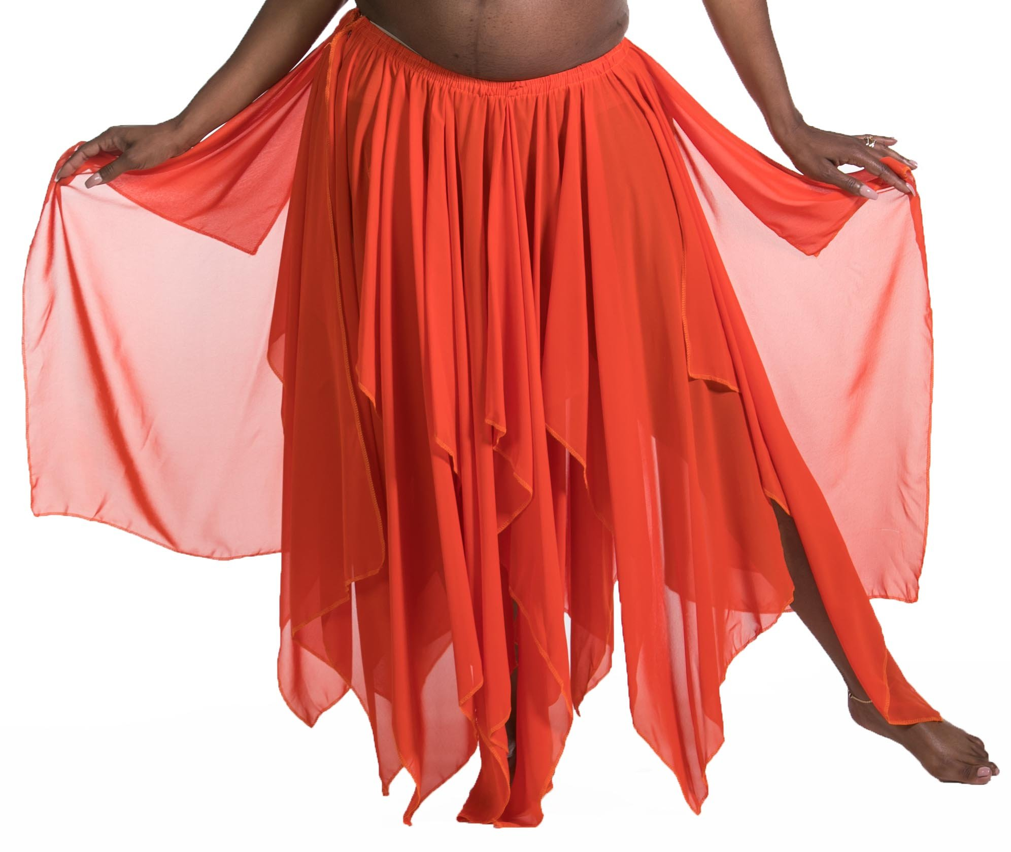 BELLY DANCE ACCESSORIES 13 PANEL CHIFFON SKIRT - ORANGE by Miss Belly Dance