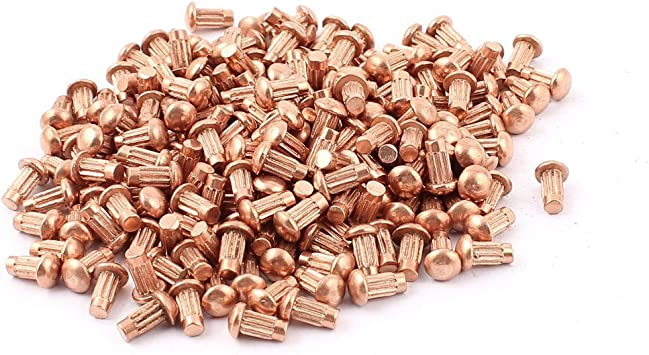 1//4 X 1-3//8 Round Head Copper Rivets; 100 PCS Box