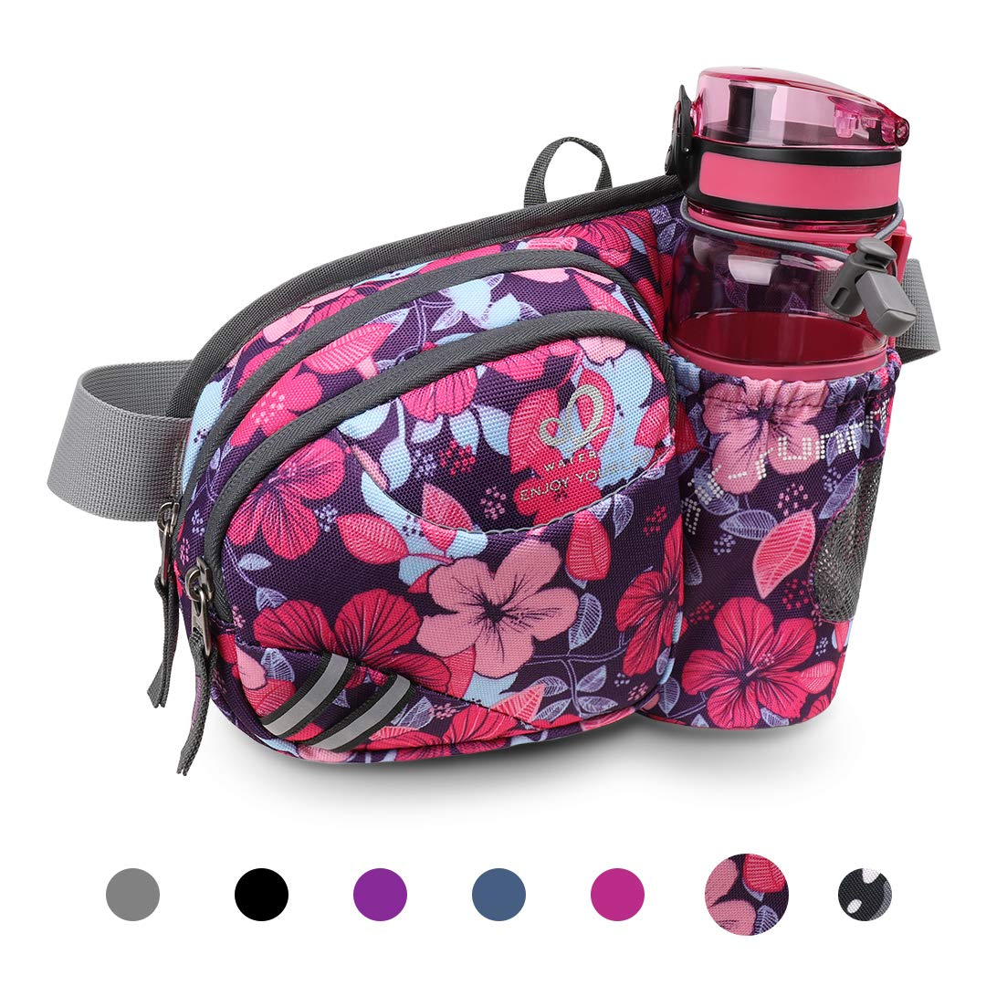 Waterfly Hiking Waist Bag Fanny Pack with Water Bottle Holder for Men Women Running & Dog Walking Can Hold iPhone8 Plus Screen Size 6.5inch (Rose red Flower) by Waterfly