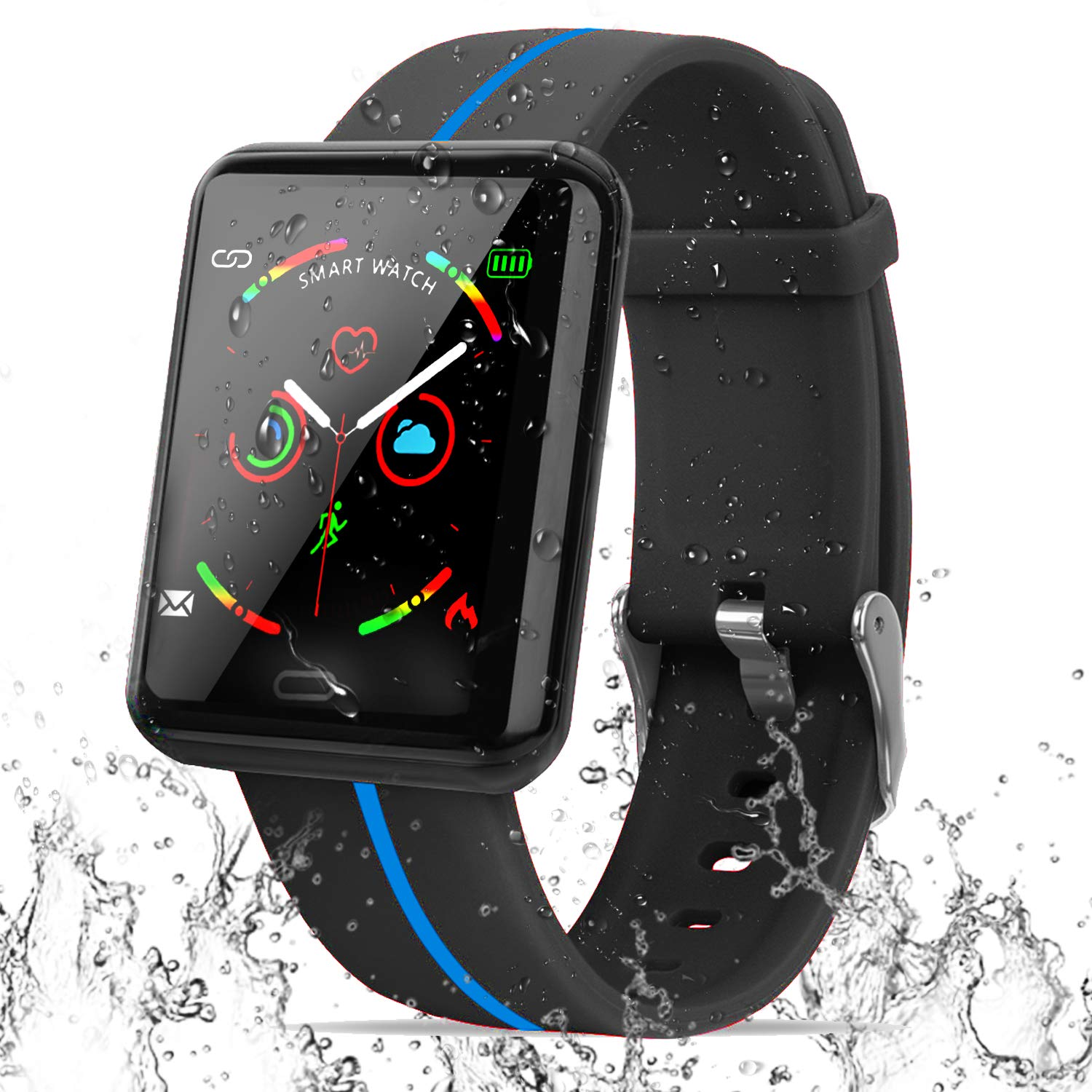 Smart Watch IP67 Waterproof Fitness Tracker,Large Touchscreen Smartwatch for Women Men Android IOS Sport Outdoor Watch with Pedometer Blood Pressure ...