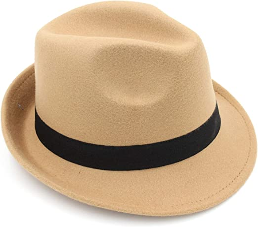 DOSOMI Mens Fedoras Panama Hat Wool Gangster Trilby Cap Casual Party Wide Brim England Style Jazz Hats