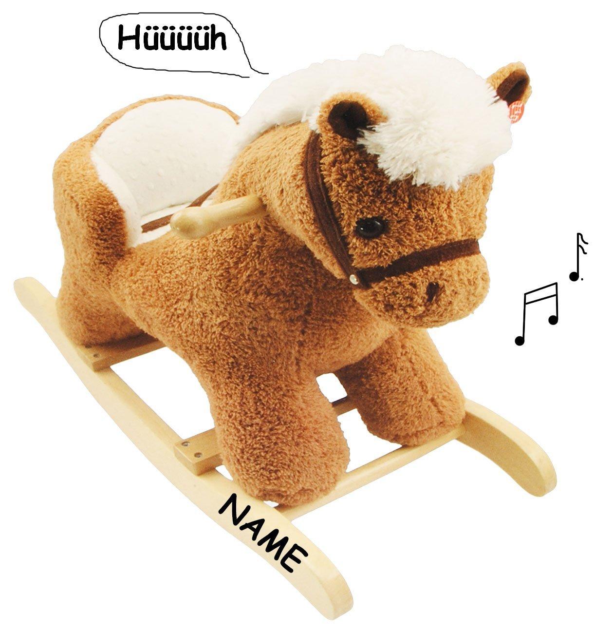 XL Plüsch und Holz Schaukelpferd - mit Sound / Melody / Musik incl. Namen - mit Einstieghilfe und Sicherheitsgurt - Schaukeltier mit Plüschbezug / Kind Schaukel Esel Pony Plüschschaukel für Kinder Mädchen Jungen