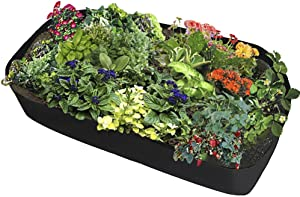Toyfun Fabric Raised Garden Bed Rectangle Breathable Planting Container Grow Bag Planter Pot for Plants, Flowers, Vegetables Herb Plants Bed (3ft x 6ft)