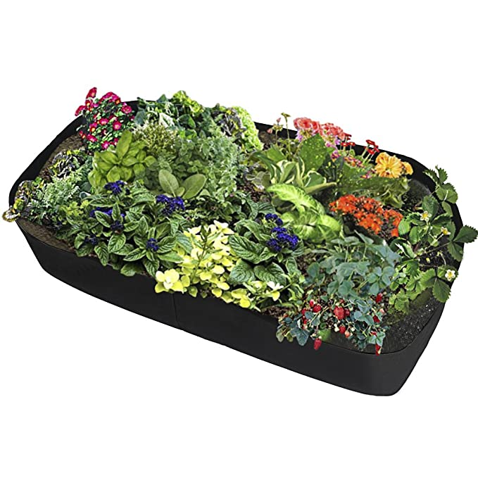 Warooma Fabric Raised Garden Bed Rectangle Breathable Planting Container Grow Bag Durable Flower Vegetable Planter Raised Bed 2ft Black x2ft W L