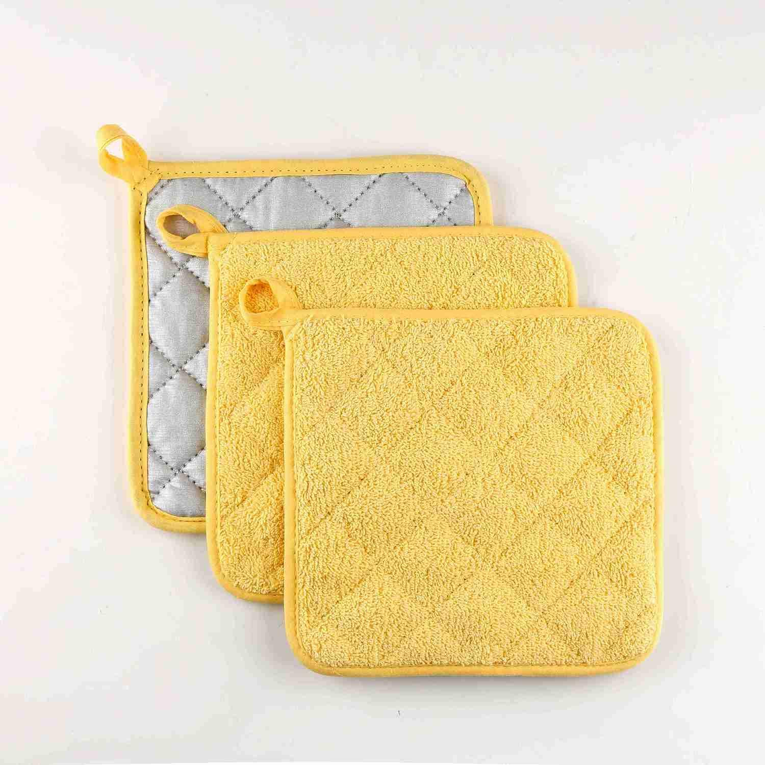 VEIKERY Oven Pot Holders 100% Cotton Potholders,7x7 inches,3 Packs,Perfect for Cooking, Baking, Serving, BBQ(Yellow)