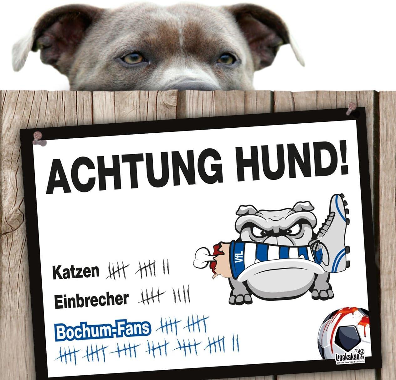 Hunde-Warnschild Schutz vor Duisburg-Fans| VFL Bochum Achtung Vorsicht Hund Bissig Fortuna D/üsseldorf- /& alle Fu/ßball-Fans Dieser Revier-Markierer sch/ützt Haus /& Hof vor Duisburg-Fans