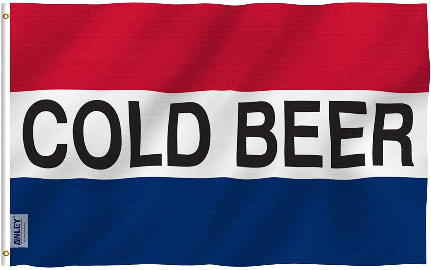 Anley Fly Breeze 3x5 Foot Cold Beer Flag - Vivid Color and UV Fade Resistant - Canvas Header and Double Stitched - Advertising Beer Flags Polyester with Brass Grommets 3 X 5 Ft