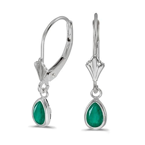 14k White Gold Pear Emerald Bezel Lever-back Earrings