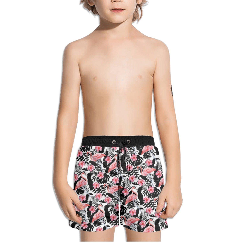 Trum Namii Boys Quick Dry Swim Trunks Tropical Flower and Flamingos Shorts