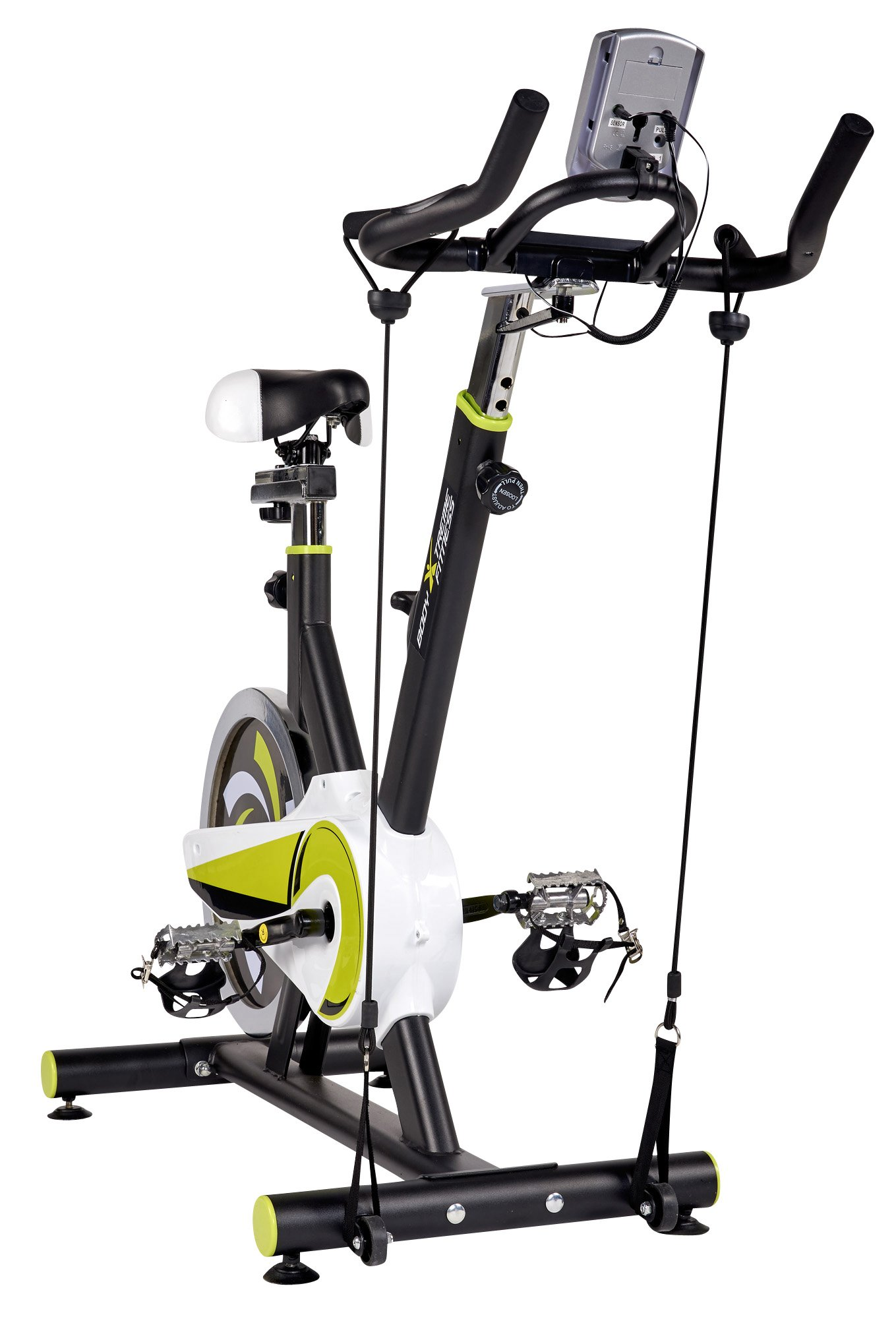 Body Xtreme Fitness Lime Green/Black Exercise Bike, Home Gym Equipment, 40lb Flywheel, Resistance Bands, Water Bottle + BONUS COOLING TOWEL by Body Xtreme Fitness USA (Image #5)