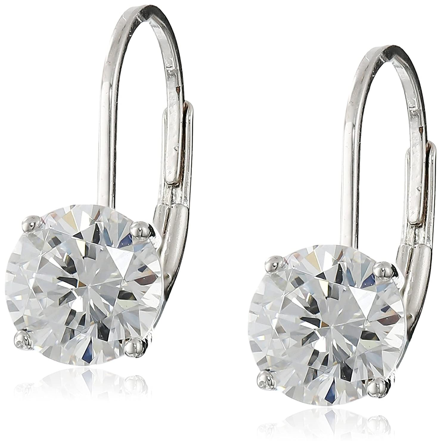 and silver cubic hoop platinum crislu in zirconia earrings finish sterling